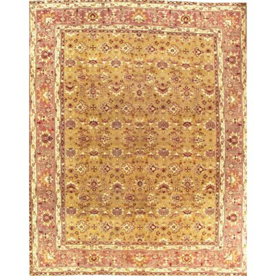 Agra Antique Fine Hand-Knotted Wool Gold Area Rug