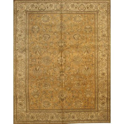 Tabriz Antique Hand-Knotted Wool Camel/Ivory Area Rug