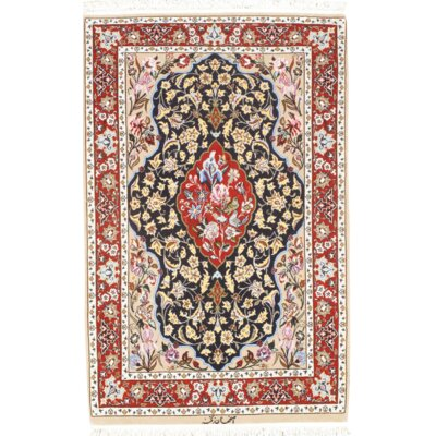 Isfahan Hand-Knotted Wool Navy/Burgundy Area Rug