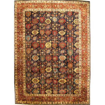 Bidjar Indo Antique Hand-Knotted Wool Navy/Rust Area Rug
