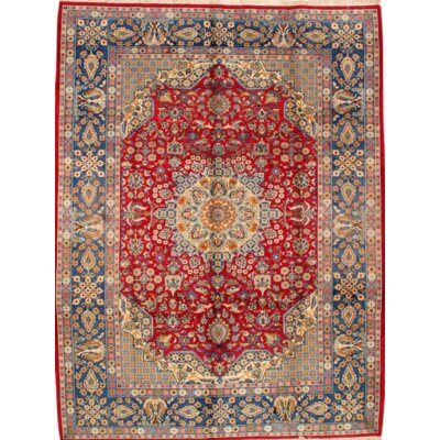 Isfahan Original Hand-Knotted Wool Red/Light Blue Area Rug