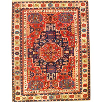 Kazak Hand-Knotted Wool Coral/Ivory Area Rug