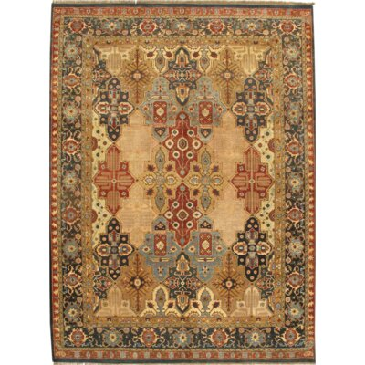Agra Fine Hand-Knotted Wool Ivory/Rust Area Rug