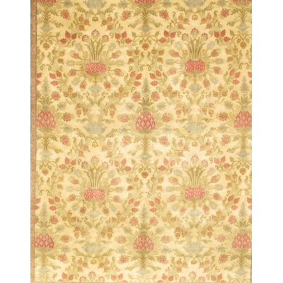 Savonnerie Hand-Knotted Wool Gold/Light Green Area Rug