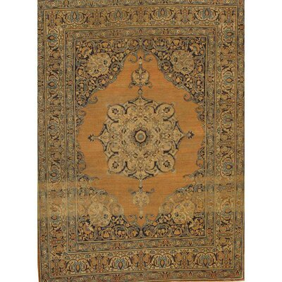 Antique Persian Tabriz Hand-Knotted Wool Rust/Ivory Area Rug