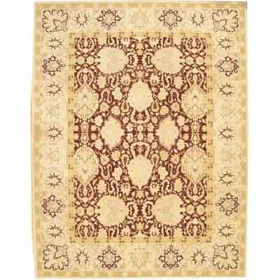 Sino Agra Hand-Knotted Wool Burgundy/Ivory Area Rug