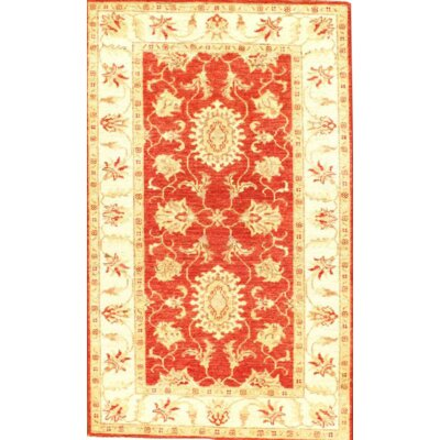 Original Farahan Scatter Hand-Knotted Wool Coral/Ivory Area Rug