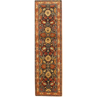 Tabriz Hand-Knotted Wool Blue/Rust Area Rug