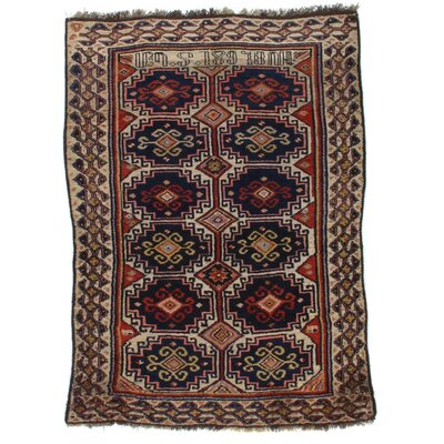 Antique Armenian Lamb Hand-Knotted Wool Black/Ivory Area Rug