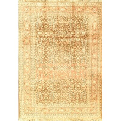 Semi-Antique Herati Design Hand-Knotted Wool Brown/Rust Area Rug