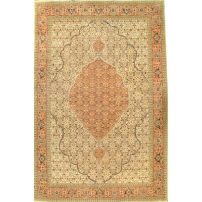 Tabriz Hand-Knotted Wool Camel/Coral Area Rug
