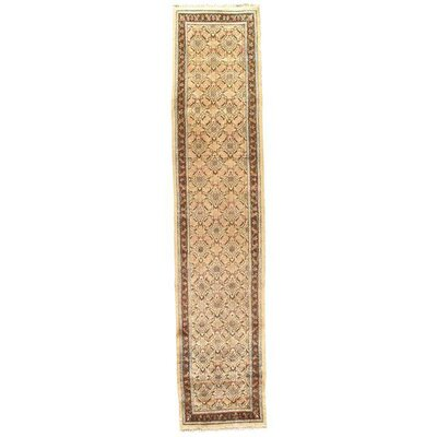 Semi-Antique Mashhad Moud Hand-Knotted Wool Gold/Brown Area Rug