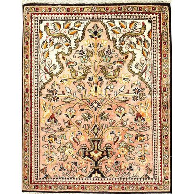 Silk Qum Hand-Knotted Wool Beige/Black Area Rug