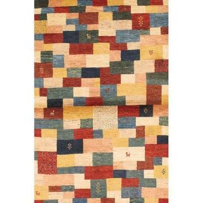 Gabbeh Hand-Knotted Wool Red/Blue Area Rug