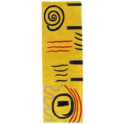 Modern Hand Tufted Wool Yellow Area Rug Size: Runner 26 x 8