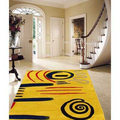 Modern Hand Tufted Wool Yellow Area Rug Size: Rectangle 6 x 4