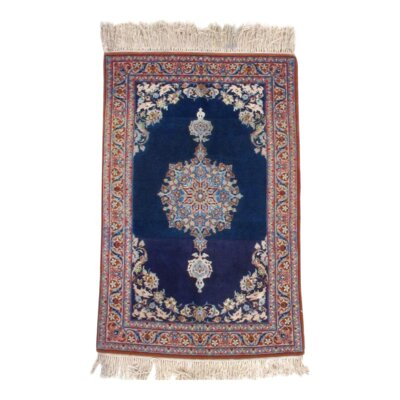 Persian Hand Knotted Wool/Silk Navy/Brown Area Rug