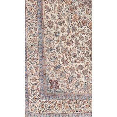 Persian Nain Hand-Knotted Silk and Wool Ivory/Blue Area Rug