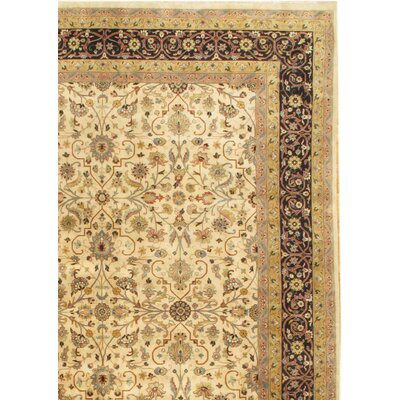 Tabriz Hand-Knotted Wool Ivory/Brown Area Rug