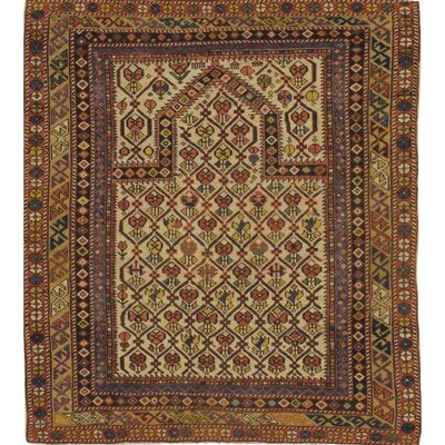 Russian Hand-Knotted Wool Ivory/Rust Area Rug