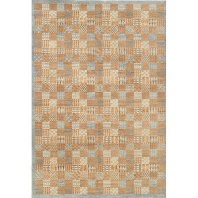 Modern Hand-Knotted Wool Blue/Camel Area Rug
