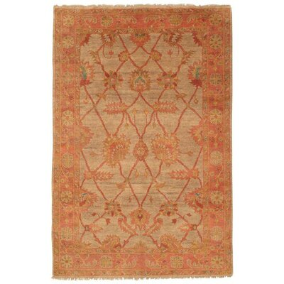 Indo Hand-Knotted Wool Gold Area Rug