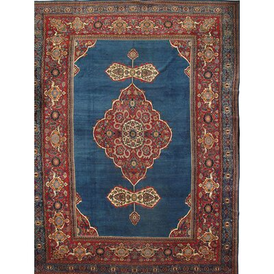 Persian Hand-Knotted Wool Blue/Red Area Rug