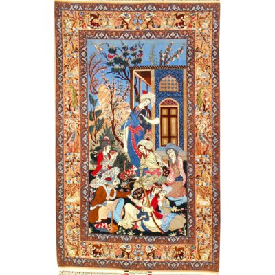 Persian Isfahan Atighechian Signed Hand-Knotted Wool Blue/Brown Area Rug