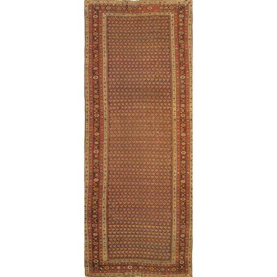 Antique Hamadan Hand-Knotted Wool Brown Area Rug