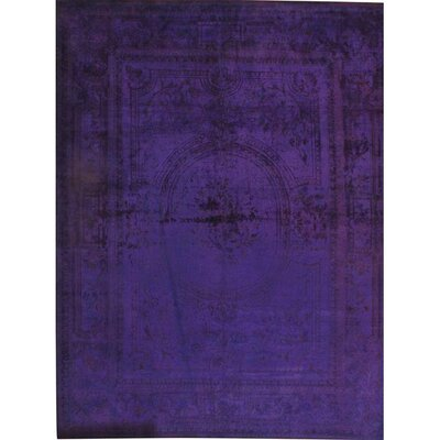 Overdyed Hand-Knotted Wool Purple Area Rug