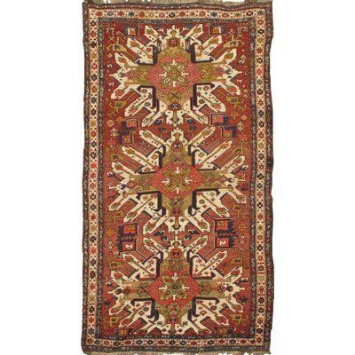 Antique Russian Eagle Kazak Hand-Knotted Wool Brown Area Rug