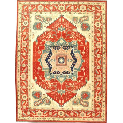 Pak Sumak Serapi Design Hand-Knotted Wool Red Area Rug