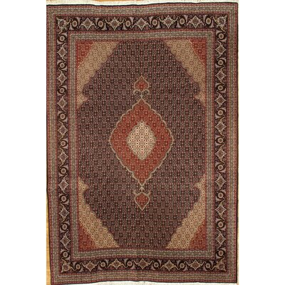 Tabriz Fish Design Hand-Knotted Wool Purple/Red Area Rug