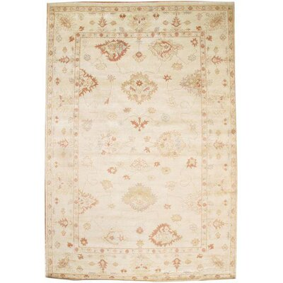 Turkish Hand Knotted Wool Ivory Area Rug