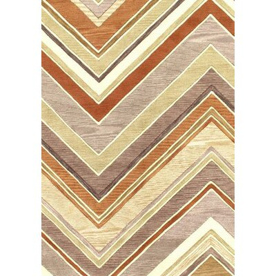 Modern Hand-Tufted Wool Beige/Rust Area Rug