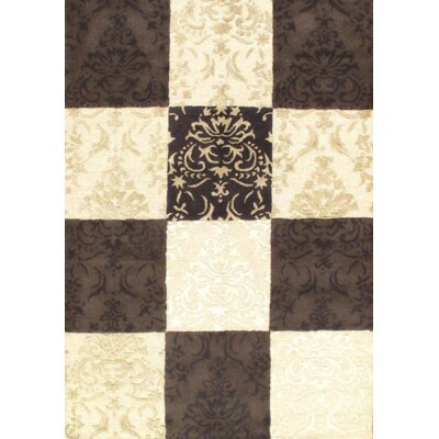 Modern Hand-Tufted Wool Beige/Dark Brown Area Rug
