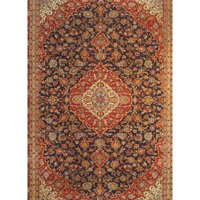 Persian Kashan Hand-Knotted Wool Navy/Red Area Rug