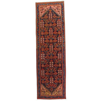 Persian Hand-Knotted Wool Red/Light Blue Area Rug