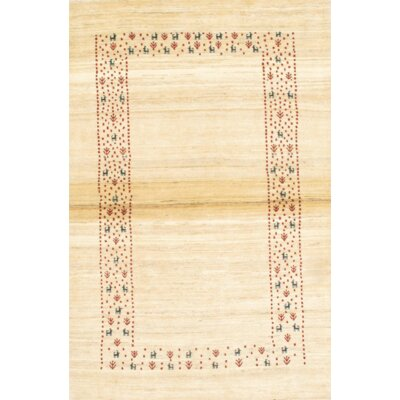 Gabbeh Hand-Knotted Wool Ivory Area Rug