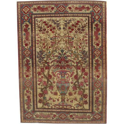 Persian Antique Isfahan Hand-Knotted Silk Ivory/Rust Area Rug