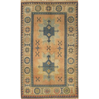 Kazak Design Hand-Knotted Wool Rust/Ivory Area Rug