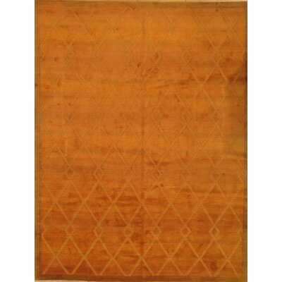 Hand-Knotted Wool Orange Area Rug