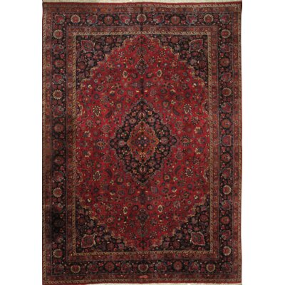 Mashad Hand Knotted Wool Red/Navy Area Rug