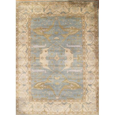 Oushak Hand-Knotted Wool Light Blue/Ivory Area Rug