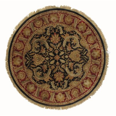 Agra Indian Hand-Knotted Wool Black/Red Area Rug