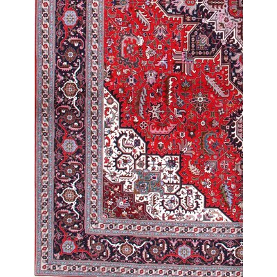Fine Persian Hand-Knotted Wool Red/Navy Area Rug