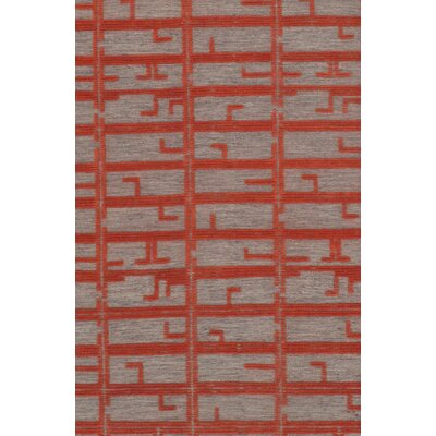 Flat Weave Hand-Knotted Wool Red/Gray Area Rug