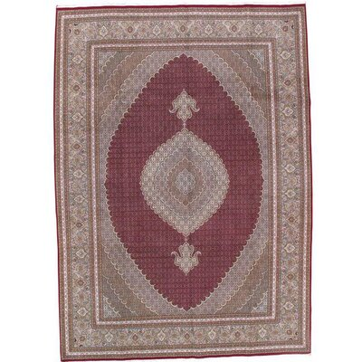 Tabriz Hand-Knotted Wool Persian Red Area Rug Rug Size: 84 X 118