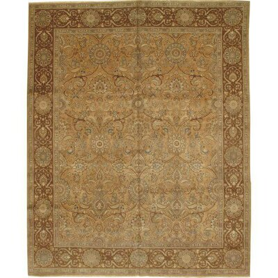 Tabriz Hand-Knotted Wool Persian Light/Dark Brown Area Rug