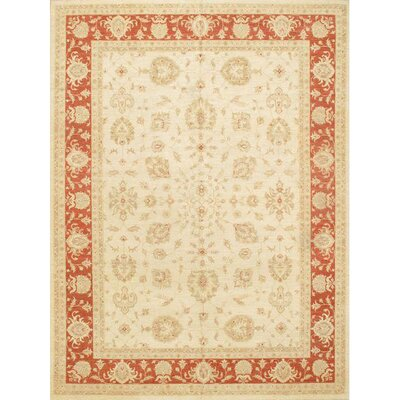 Hand Knotted Wool Ivory/Coral Area Rug